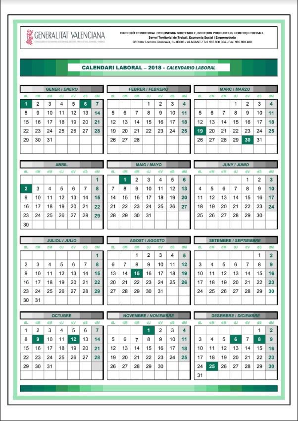 Calendario Laboral Jaen 2020.Calendario Laboral 2018 Correos